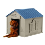 Outdoor Dog House in Taupe and Blue Roof Durable Resin - For Dogs up to 100 lbs
