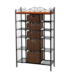 Classic Black Iron Bakers Rack with 5 Rattan Baskets