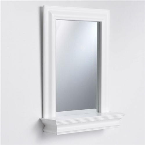Framed Bathroom Mirror Rectangular Shape With Bottom Shelf In White Wood Fini
