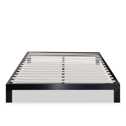 Queen Modern Black Metal Platform Bed Frame With Wooden