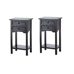 Set of 2 Nightstand Side Tables / End Table in Black Finish Pine Wood