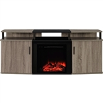 Sonoma Oak / Black Electric Fireplace TV Stand - Accommodates up to 70-inch TV