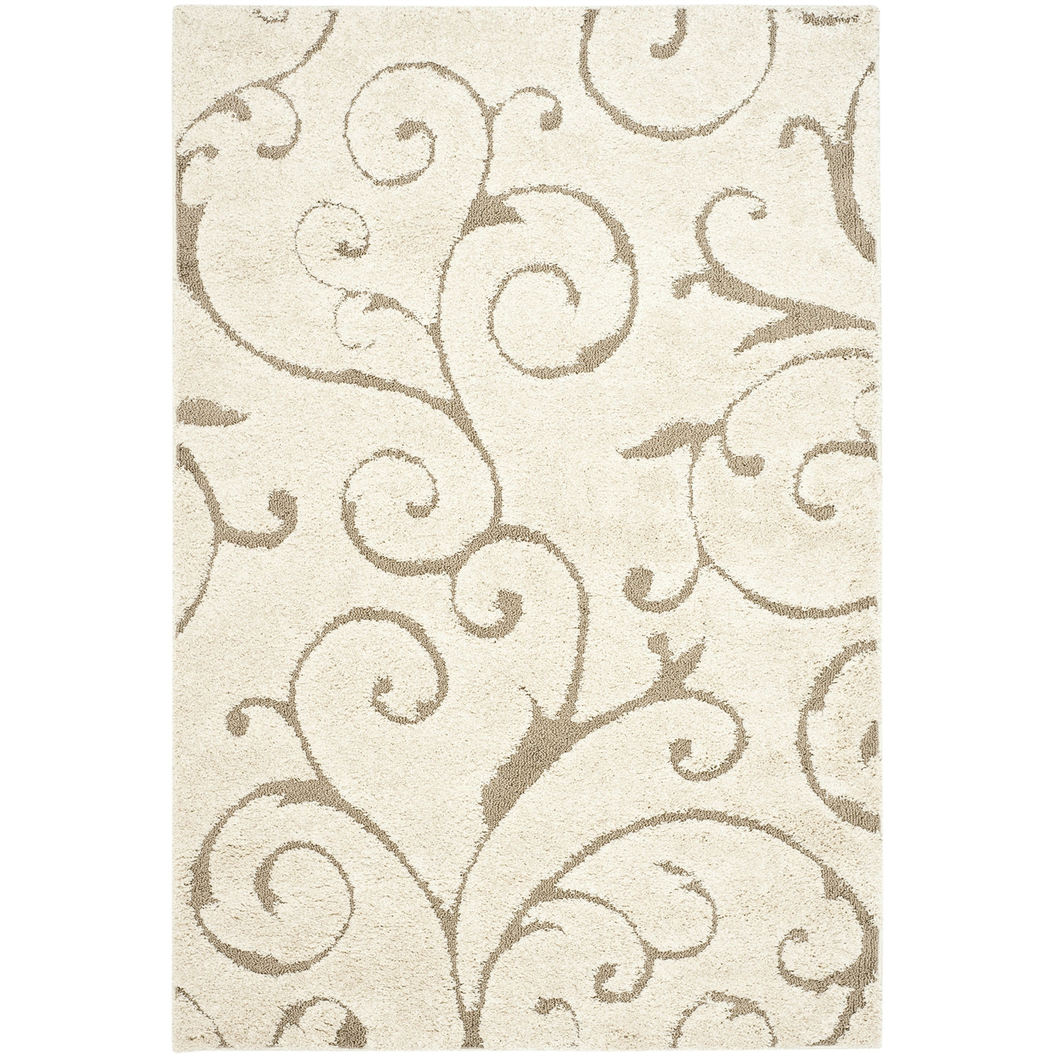 3 39 3 x 5 39 3 shag area rug in beige off white with scrolling for Garden shed 3x5