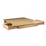 Full/Queen Maple Platform Bed with 2 Storage Drawers