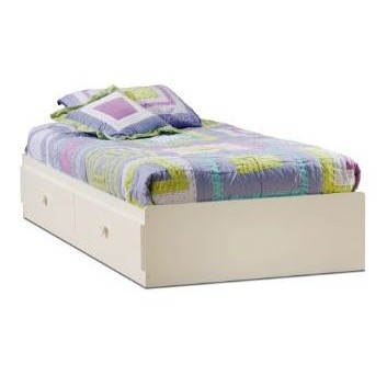 White twin size mates platform bed with 2 drawers for Twin platform bed frame with drawers