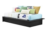 Modern Black Faux Leather Upholstered Platform Bed Frame with Wood Slats in Twin