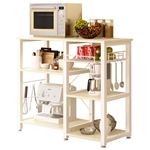 Beige Stainless Steel Kitchen Bakers Rack Utility Table with Wood Cutting Board