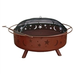 Large 36-inch Moon Stars Outdoor Steel Fire Pit with Spark Guard and Poker