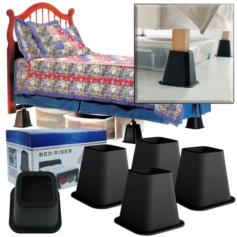 Inch high bed risers in black 4 pack fastfurnishings com