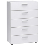 Contemporary 5-Drawer Bedroom Storage Dresser Chest in White