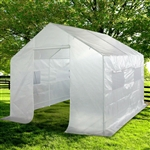 Outdoor 9 x 10 Ft Greenhouse Kit with Heavy Duty Steel Frame and PE Cover