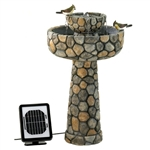 2-Tier Outdoor Cobblestone Solar Powdered Water Fountain