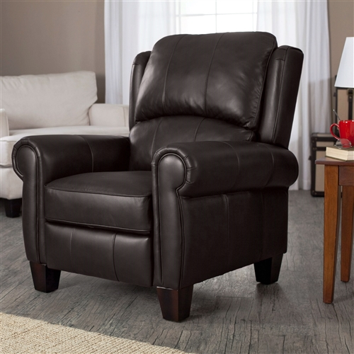 high quality top grain leather upholstered wingback recliner club chair in chocolate brown. Black Bedroom Furniture Sets. Home Design Ideas