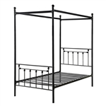 Twin size Sturdy Metal Canopy Bed Frame in Black Metal Finish