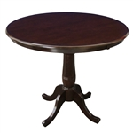 Round 30-inch Dining Table in Dark Brown Rich Mocha Wood Finish