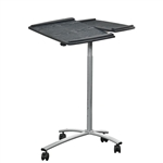 Adjustable Laptop Computer Cart Desk Stand in Steel with Graphite Top