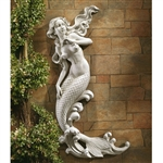 Outdoor Patio Wall Decor Mermaid Wall-Mounted Garden Statue