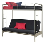 Twin over Full Futon Bunk Bed in Silver Metal Finish