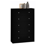 Modern Bedroom Storage 5-Drawer Chest in Black Wood Finish