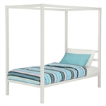 Twin size White Metal Platform Canopy Bed Frame - No Box-spring Necessary