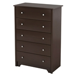Dark Brown Chocolate Woof Finish 5-Drawer Bedroom Chest of Drawers with Metal Knobs