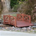 Outdoor 6-Ft Garden Bridge with X-Design Rails in Red Stained Acacia Wood