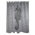 Woven Polyester Bathroom Shower Curtain with Gray Seahorse