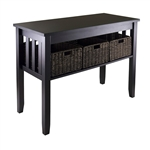 Espresso Wood Console Hall / Sofa Table w/ 3 Foldable Baskets