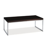Modern Coffee Table in Espresso Finish with Chrome Legs & Base