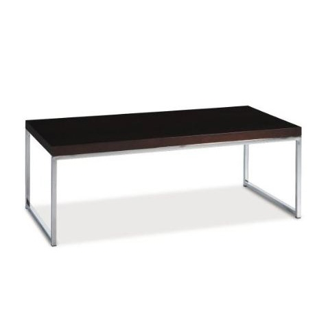 Modern Coffee Table In Espresso Finish With Chrome Legs Base