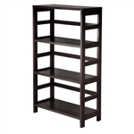 Wide 3-Shelf Modern Shelving Unit in Espresso Wood Finish