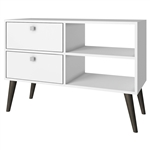 White Grey Wood Modern Classic Mid-Century Style TV Stand Entertainment Center