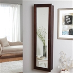 Wall Mounted Locking Jewelry Armoire Cabinet in Espresso Wood Finish