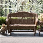 Walnut Resin Wicker 2-Seat Outdoor Glider Bench Patio Arm-Chair