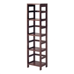 Narrow 4-Shelf Contemporary Shelving Unit in Espresso Wood Finish