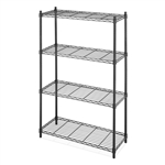 4-Shelf Black Metal Wire Shelving Unit - Each Shelf Holds up to 350 lbs