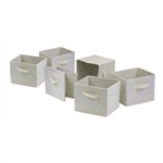 Set of 6 Foldable Fabric Storage Baskets in Beige