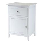 White 1-Drawer Bedroom Bedside Table Cabinet Nightstand End Table