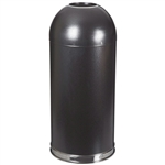 Black Steel 20-Gallon Round Waste Receptacle Trash Can