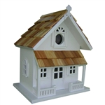 White Victorian Cottage Wooden Birdhouse - Fully Assembled