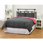 King/CAL King size 3-Piece Grey Pink Microfiber Comforter Set with 2 Shams