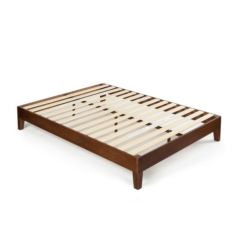 Full size Low Profile Solid Wood Platform Bed Frame in Espresso