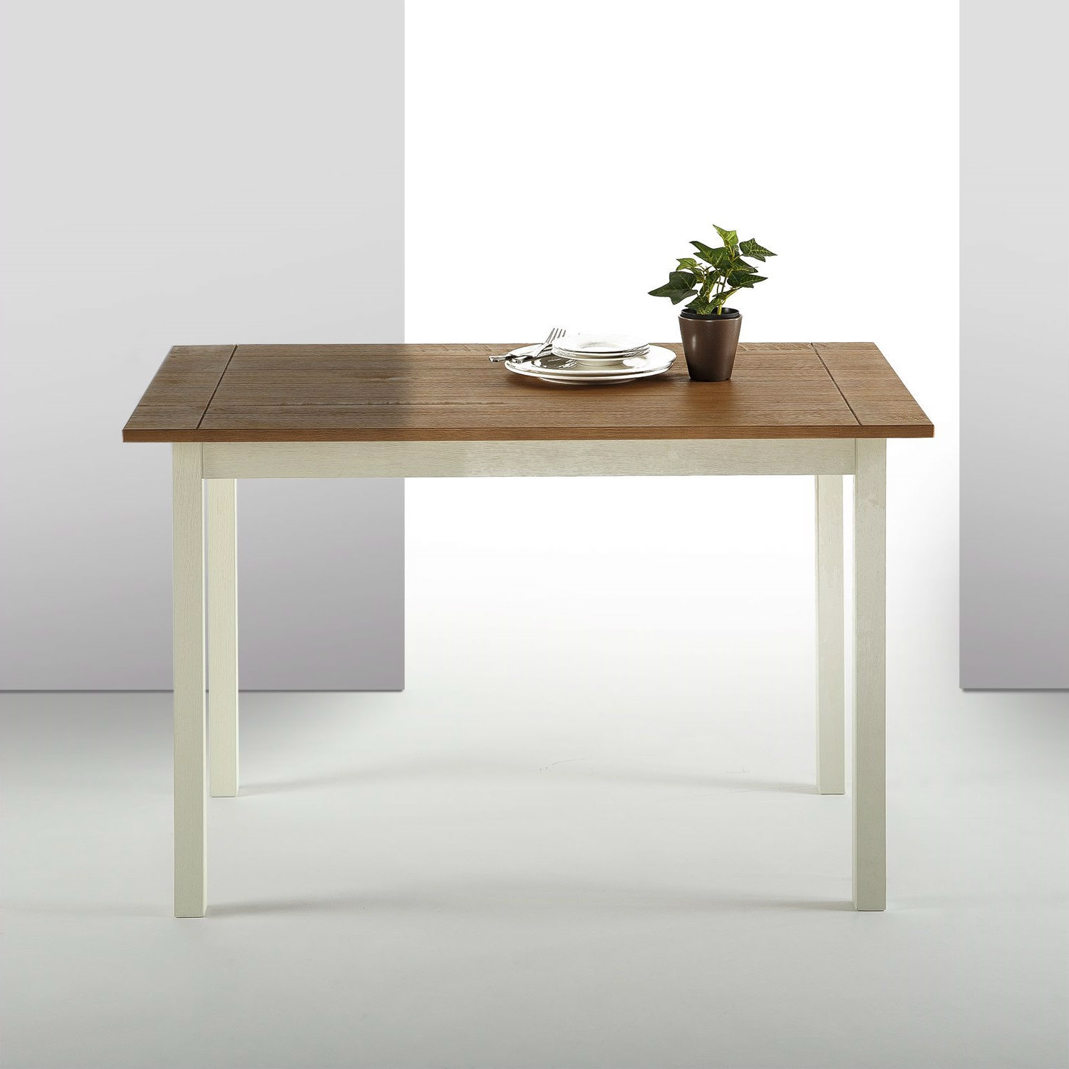 Classic Pine Wood 45 X 28 Inch Dining Table With White Legs