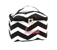 mini black chevron cosmetic bag