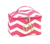 mini pink chevron cosmetic bag
