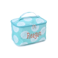 large aqua cosmetic bag