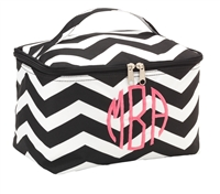 large black chevron cosmetic bag