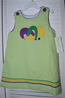 Mardi Gras Precious Kids Jester Applique A-line Dress