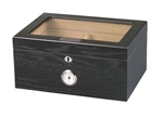 Glass Top Black Oak Desktop Humidor - 75 cigar
