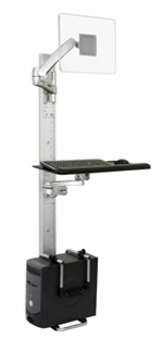 Titan Series Dual-Track Public Access Computer Station (PAC) with CPU Holder - TITAN2-EDGE